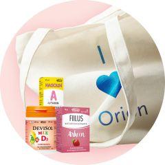 Orionin tuotteita puuvillakassissa